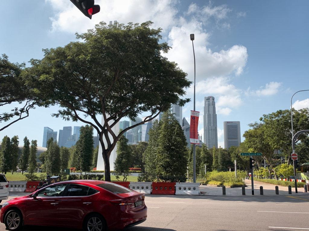Widok na centrum finansowe Singapuru