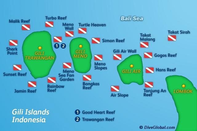 Wyspy Gili - mapa przedstawiająca najlepsze spoty do (s)nurkowania